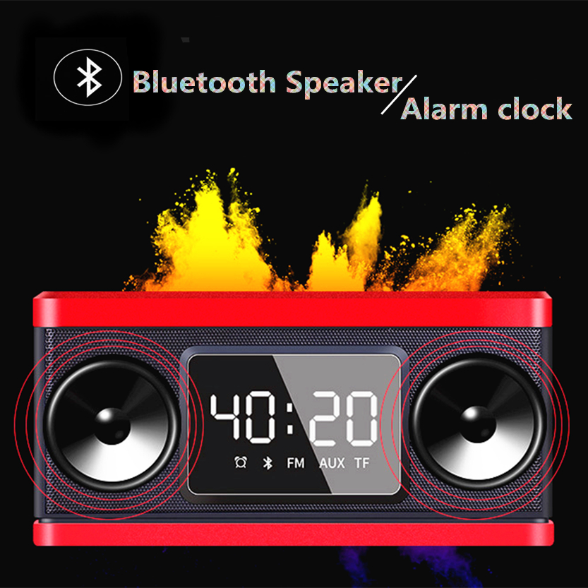 Electronic led alarm clock bluetooth speaker With AUX/TF card plaback Wireless radio clock Portable Subwoofer speaker clock