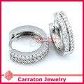 Carraton ESCH8058 Вымостите Комплект CZ Алмаз Твердые 925 Серебряные Серьги Huggie