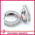 Carraton ESCH8058 Pavimenta Set CZ Diamond Solid Silver Huggie Pendientes 925