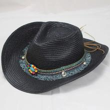 SUOGRY Ethnic Handmade Panama Hat Bead Tassel Leather Band Straw Hat For Women Men Summer Hat Western Cowboy Hat Jazz Beach Cap ethnic style western cowboy hat women s wool hat jazz hat western cowboy hat new