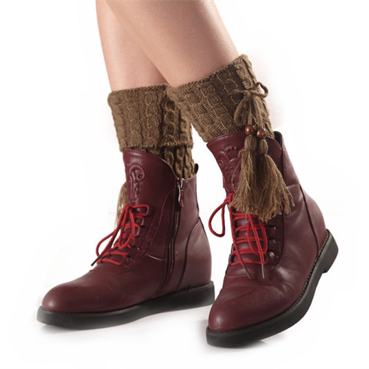 Autumn And Winter New Hemp Pattern Flap Bow Tassel Short Socks Set Women's Fashion Boots Sleeve Leggings