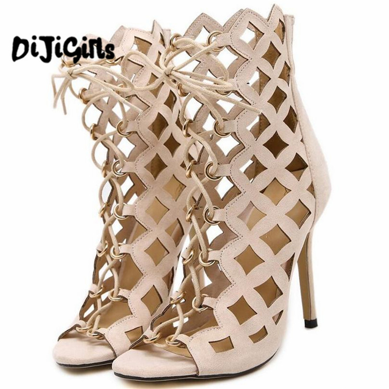 Sexy Hollow Cross Strap Gladiator High Heels Women Sandals Genova Stiletto Sandal open toe Lace Up Pumps Woman Roman Shoes new arrival knee high boots cross strap cut outs gladiator sandal boots suede open toe lace up sandals summer women flat shoes