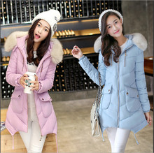 2018 Korean version of the new winter coat Girls long paragraph Slim Down jacket padded jacket