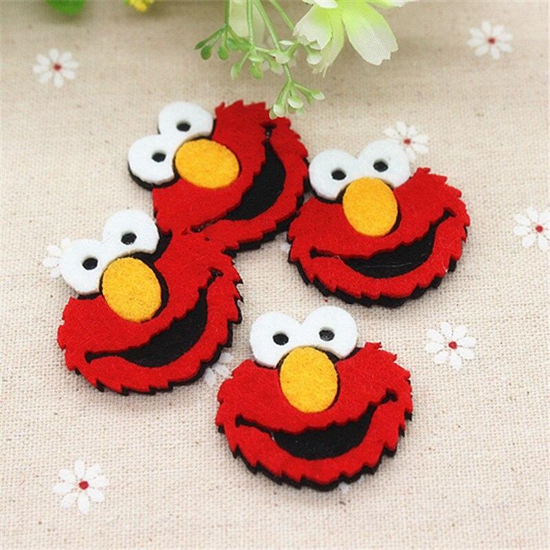 っ4.0 cm 10 unids/lote handmade Cartoon Elmo Parches Fieltro ...