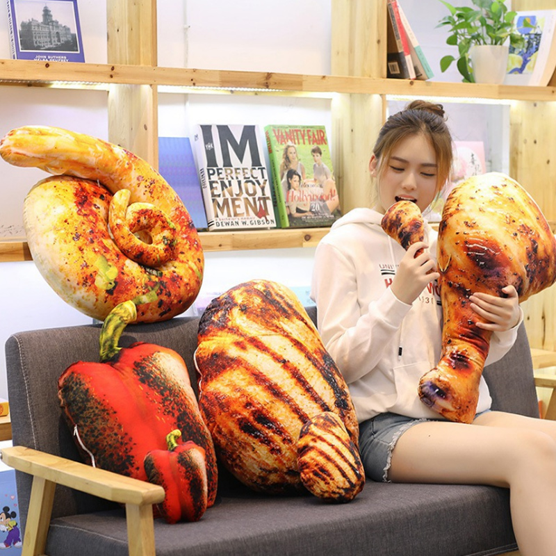 Hot 3D Simulation Food Pillow Plush Toy Soft Funny Ham Intestine Cushion Cute Pillow Creative Halloween Christmas Toy Gift