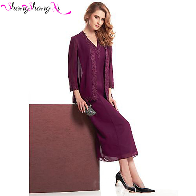 Burgundy Chiffon Mother of the Bride Pant Suits 2017 Jackets Lace ...
