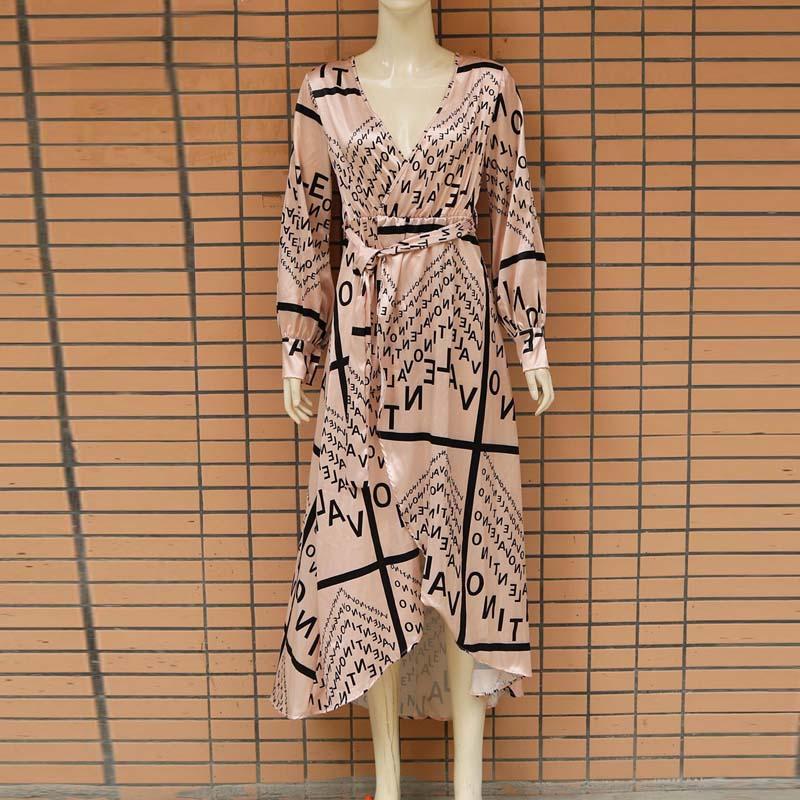 Women Letter Print Sexy V-Neck Thigh Slit Maxi Dress Long Sleeve Elegant Boho Beach Dress Casual Long Dresses 3