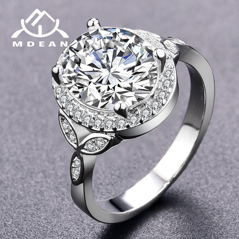 MDEAN Noble White Gold Color Wedding for Women Engagement Rings Fashion Clear AAA Zircon Jewelry Bague Bijoux Size 6 7 8 H846