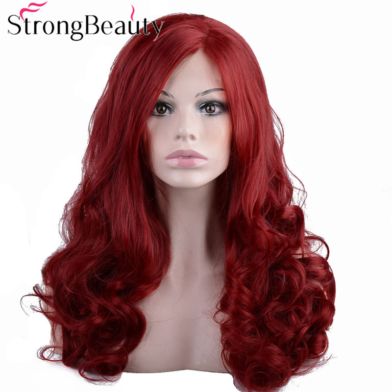 StrongBeauty Long Wavy Red Lace Front Wig Synthetic Hair Heat Resistant Wigs