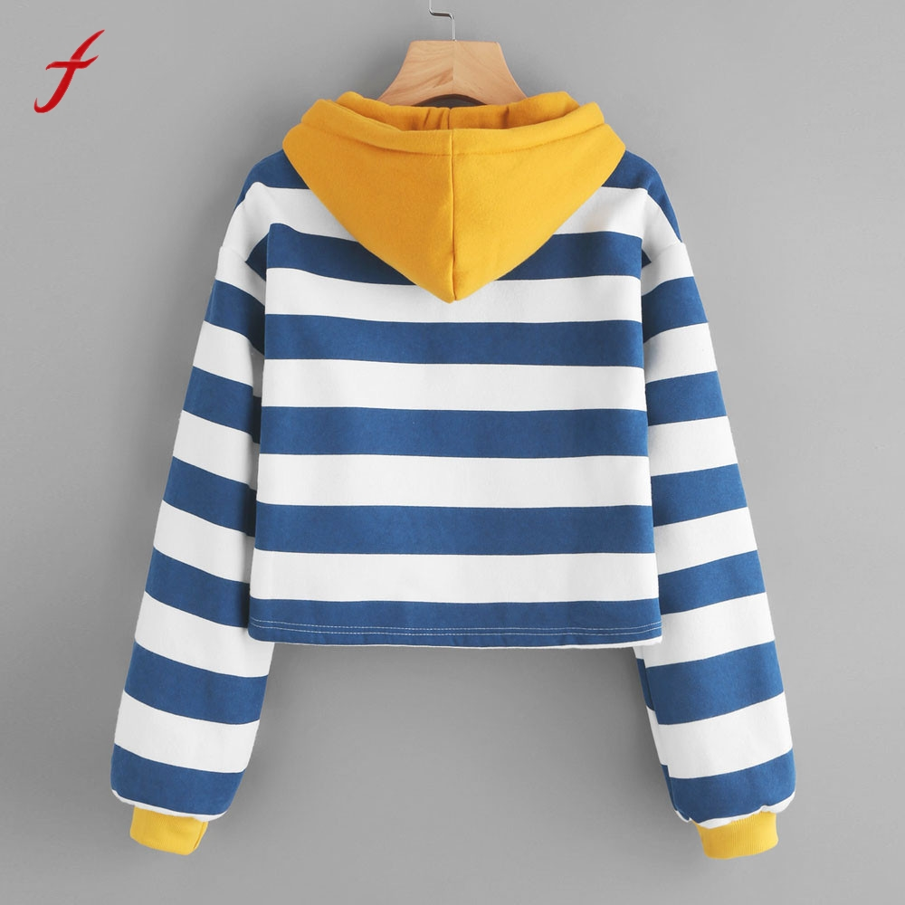 Autumn Winnter Womens Stripe Long Sleeve Christmas Hoodie Sweatshirt High Quality Cotton Hooded Pullover Tops Blouse harajuku