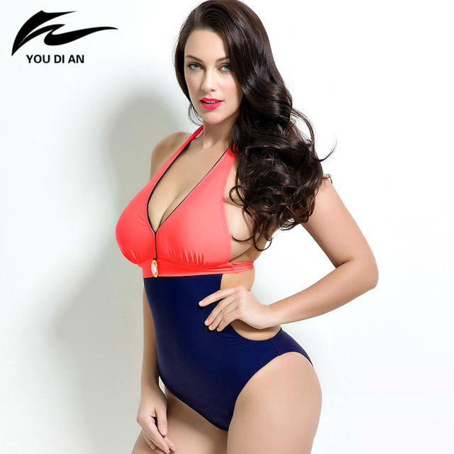 bb82586471fc8 Summer Plus Size Monokini Swimsuit One Piece style Large Bust Swimwear  Padded women Bathing Suits Swimsuits