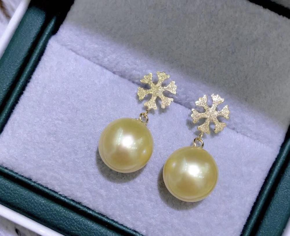 charming 10-11mm south sea round gold pearl snow earring 18kcharming 10-11mm south sea round gold pearl snow earring 18k