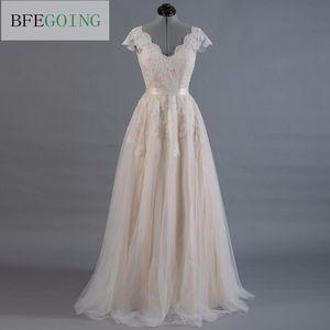 Vestido de novia Lace A-line Wedding dress Cap sleeve V-back Bridal gown Lace with Tulle(China)