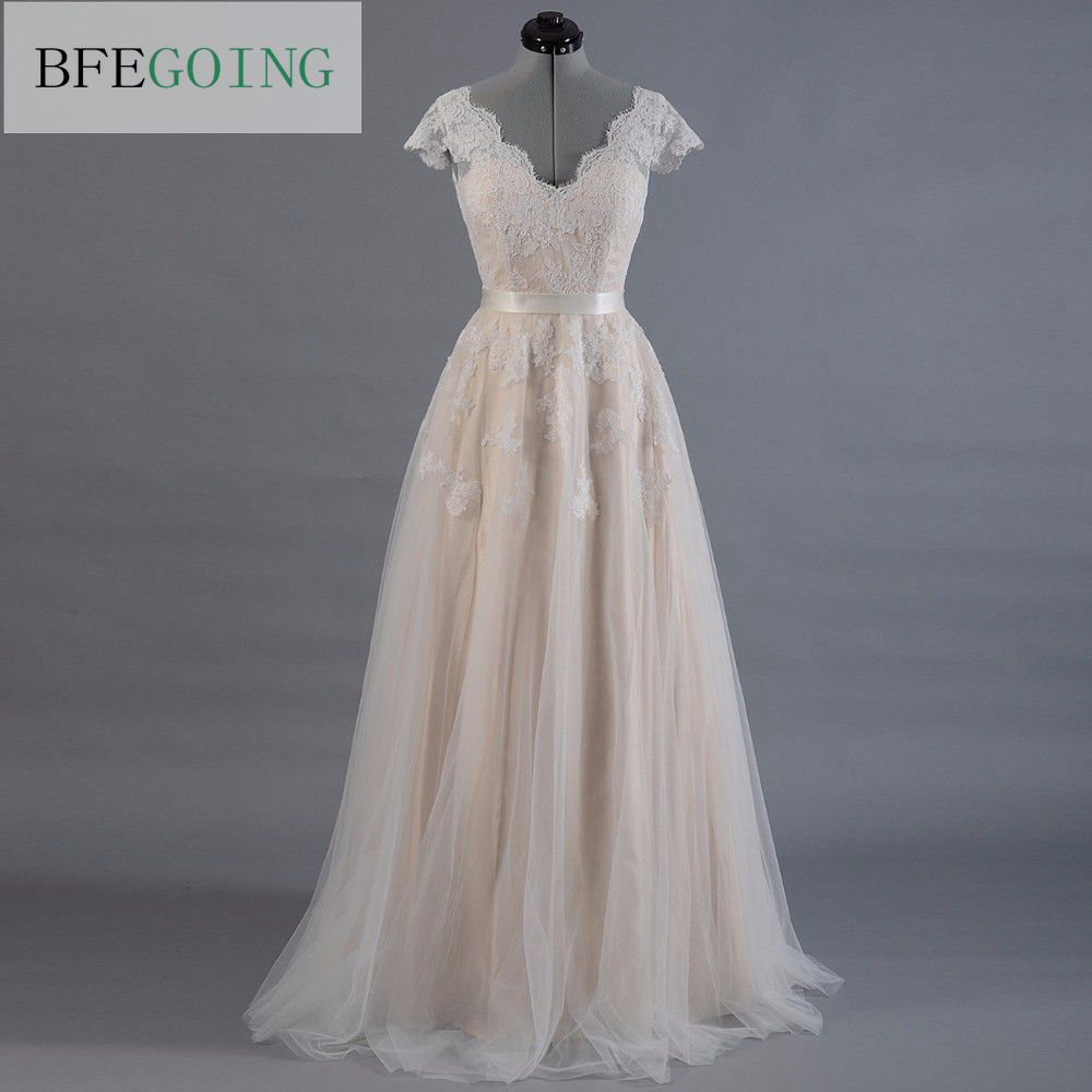Lace A Line Wedding Dress Cap Sleeve V Back Alencon Bridal Gown Lace With Tulle Skirt