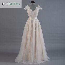 Vestido de novia renda a linha vestido de casamento boné manga v-back vestido de noiva renda com tule