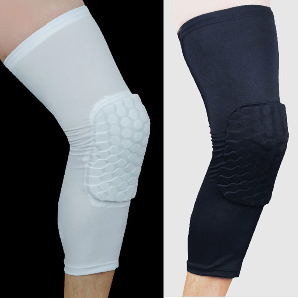 Sports Kneepad Breathable Men Women Sports Honeycomb Long Knee Black White Support Pad Protector M Size adjustable knee support joint brace apparatus kneepad fixed frame postoperative hard knee ligament fixation recovery