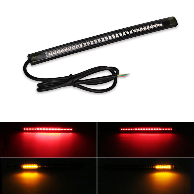 Flexible Motorcycle Brake Lights Turn Signal Led Light Strip Moto License Plate Light Flashing Tail Stop Strip Light Red/Amber keyecu 60 tailgate led strip light bar truck reverse brake turn signal tail red white