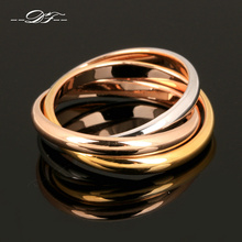 Anti Allergy Hot Sale Classic Party Finger Ring 3 Rounds Gold-Color Fashion Brand Jewelry For Women and Men Gift DFR030