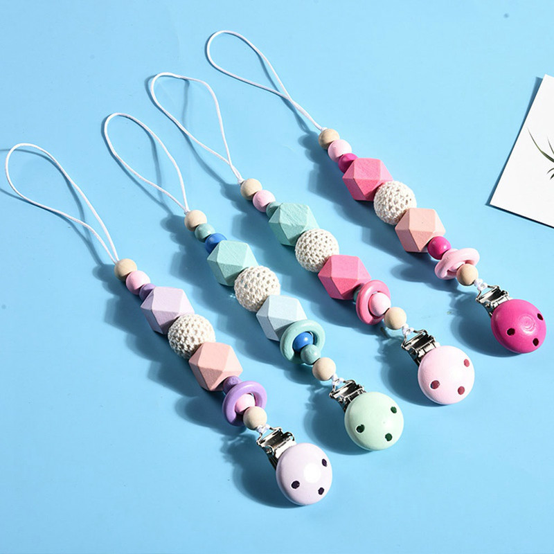 Wool Ball Wooden Teething Baby Pacifier Chain Molar Beads Clip Infant Soother Nipple Strap Rope Pacifier Clip