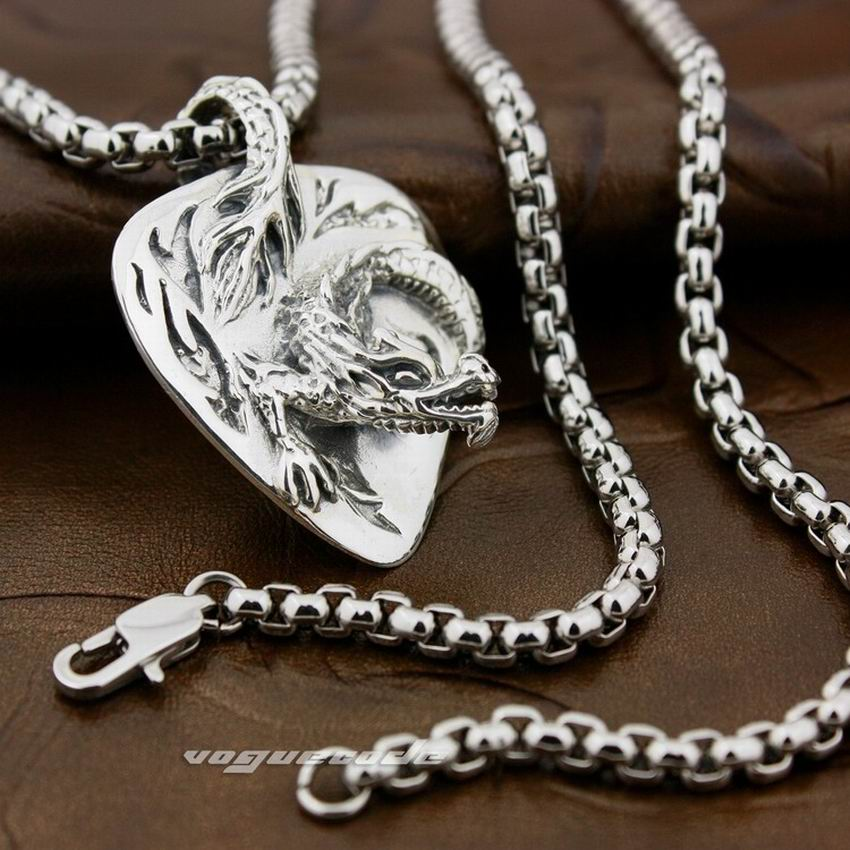 LINSION 925 Sterling Silver Chinese Flying Dragon Mens Biker Rock Punk Pendant 8X015