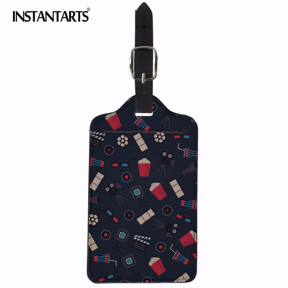 INSTANTARTS Fashion Travel Accessries Cartoon Print Luggage Tag PU Leather ID Address Holder Board Tags Portable Suitcase Label