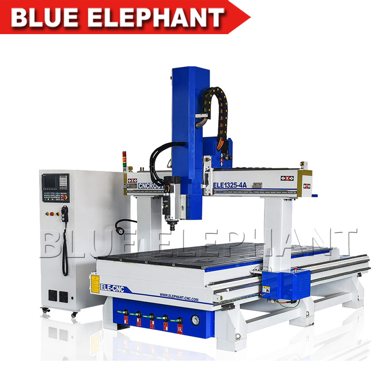 Blue Elephant 4 Axis Cnc 1325 Router Auto Tool Changer Wood Engraving and Carving Machine for