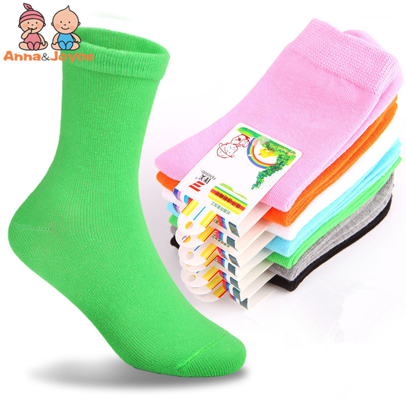 10 pcs=5 pairs 2017 spring&autumn candy color cotton socks for children girls socks with boys socks 1-9 year atws0033