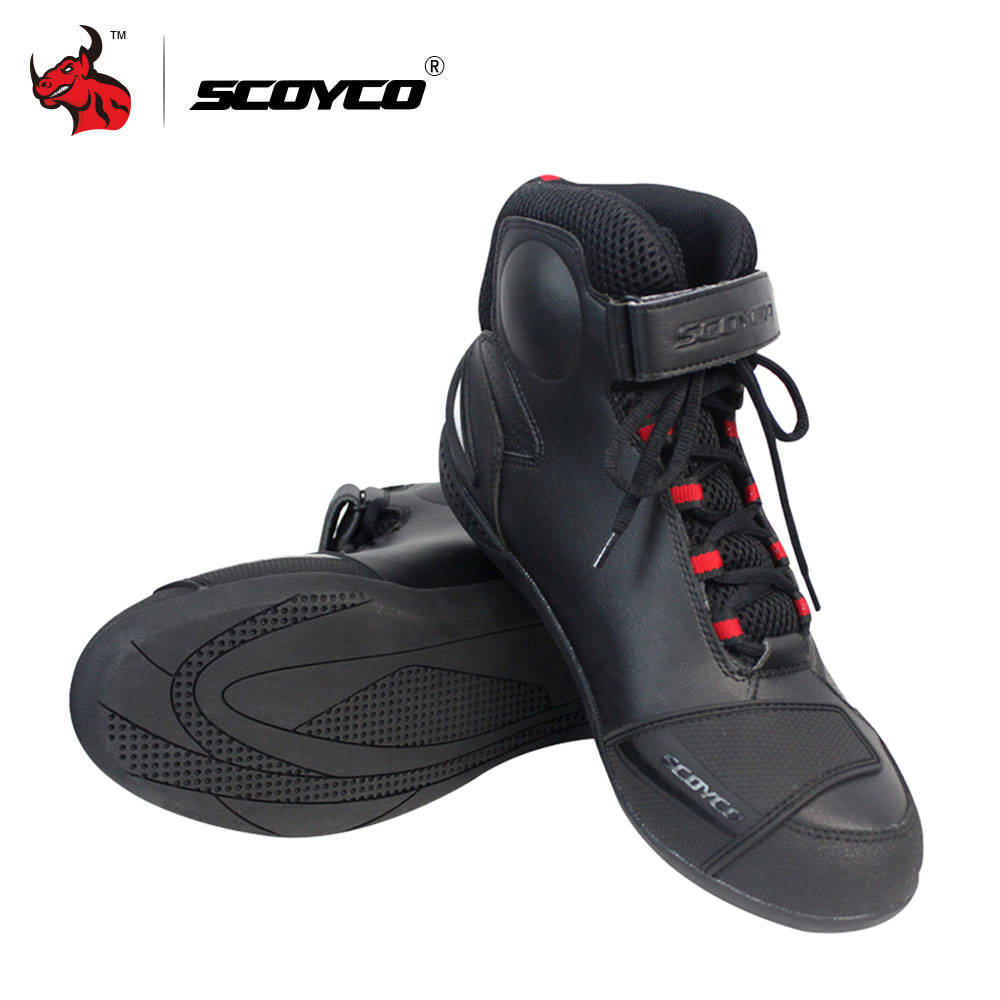 цена на SCOYCO Motorcycle Boots Men Motocross Off-Road Racing Boots Leather Moto Boots Motorbike Riding Boots Protective Gear Shoes