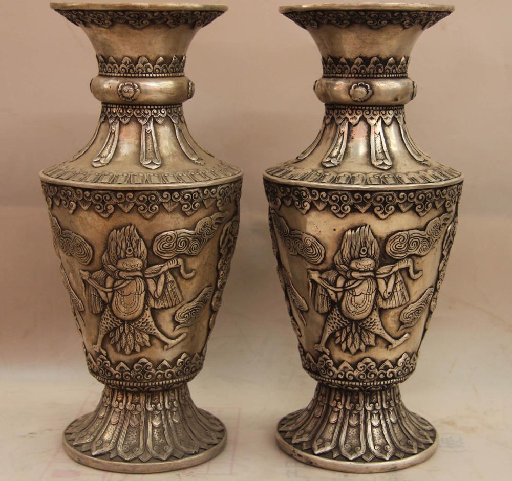 China White Copper Silver Buddhism Bird Garuda Dragon Pot Bottle Vase Pair