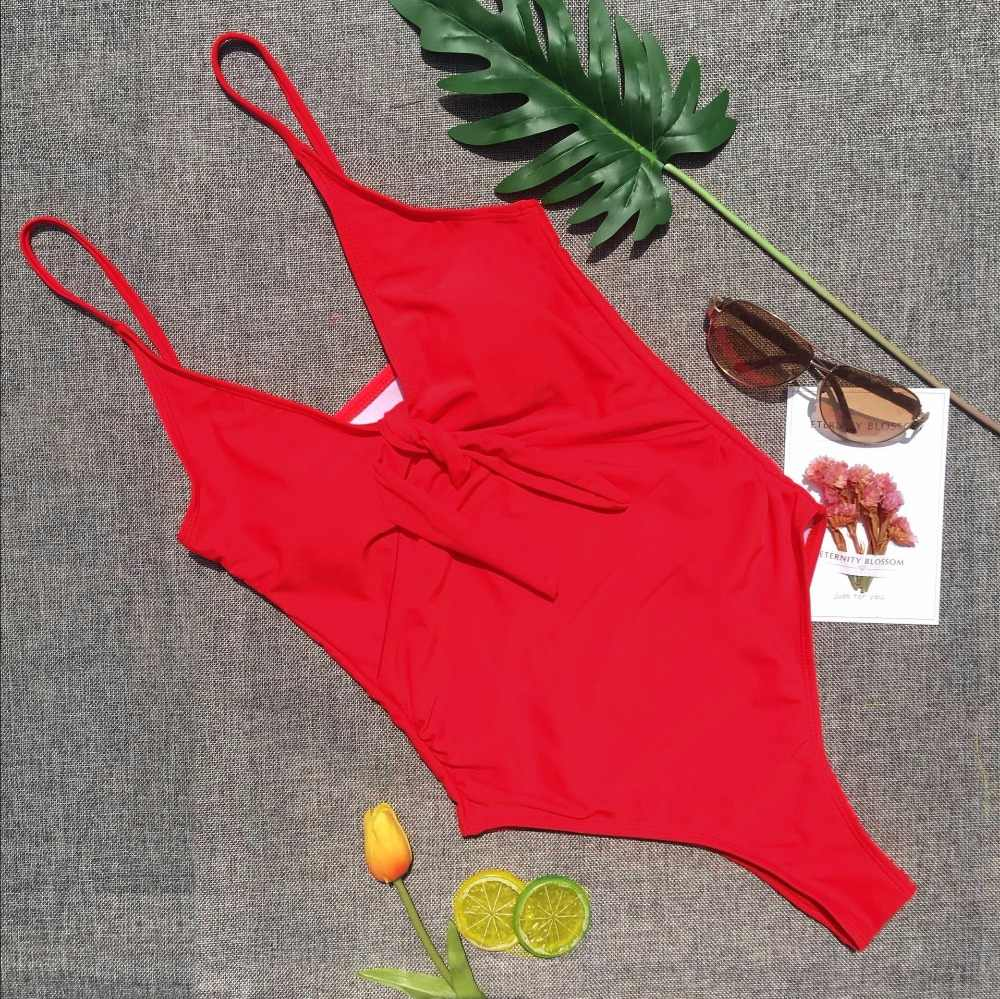 Seksi Tinggi Memotong Kaki Thong Berenang Cocok untuk Wanita Pakaian Renang Satu Potong Pakaian Renang Wanita Bather 2019 Baju Backless Monokini