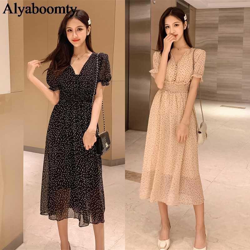 Корейское шикарное летнее женское длинное платье сексуальное с v-образным вырезом в горошек с высокой талией Vestidos Femininos абрикосовое черное элегантное шифоновое платье миди