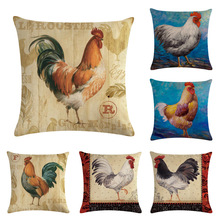 Color Chicken Pillow Cushion Cover American Country Style Printed Square Pillowcase Gallery Casual Decorativechicken Case