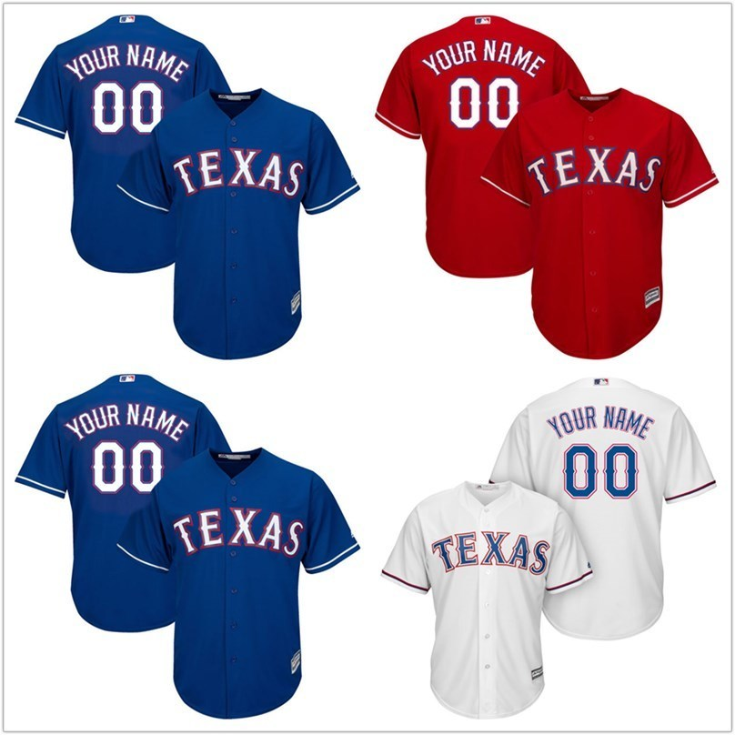 MLB Mens Texas Rangers White Home Cool Base Custom Jersey ...