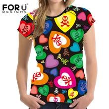FORUDESIGNS Candy Color T Shirt Women Fashion Tees Tops Summer Breath Female Short Shirts Crop Top Feminine Clothes Girls Shirts