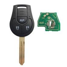Dzanken 3 Buttons Remote Car Key 315MHZ for Nissan Sylphy Versa Sunny Micra & Transponder Chip& Uncut Blade