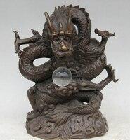 Бесплатная доставка JP S62 14 Китайский Бронзовый Кристалл народные фэн шуй Зодиак Год Дракона Статуя Скульптура (B0413)