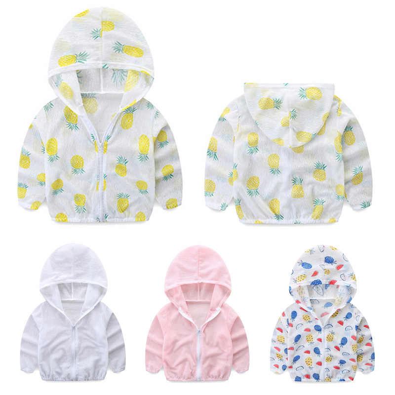 1-5Y เด็กทารกเด็กผู้หญิง UV ป้องกันดวงอาทิตย์เสื้อผ้าเสื้อ Unisex สับปะรดพิมพ์แห้งบางเสื้อแจ็คเก็ต Hooded Zipper เสื้อ