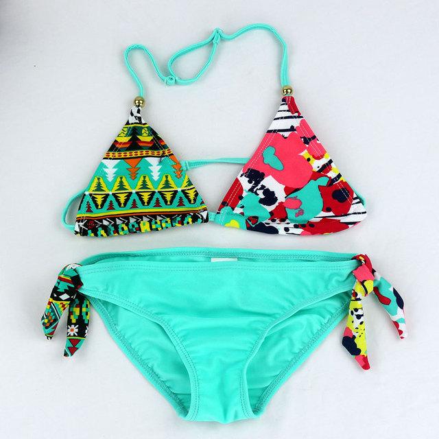 Baby Girls Swimsuit 2018 New Printing 2PCS Baby Girl Summer Tankini Swimwear Kid Children Swimsuit Bikini Set Swimsuit 6-16Years