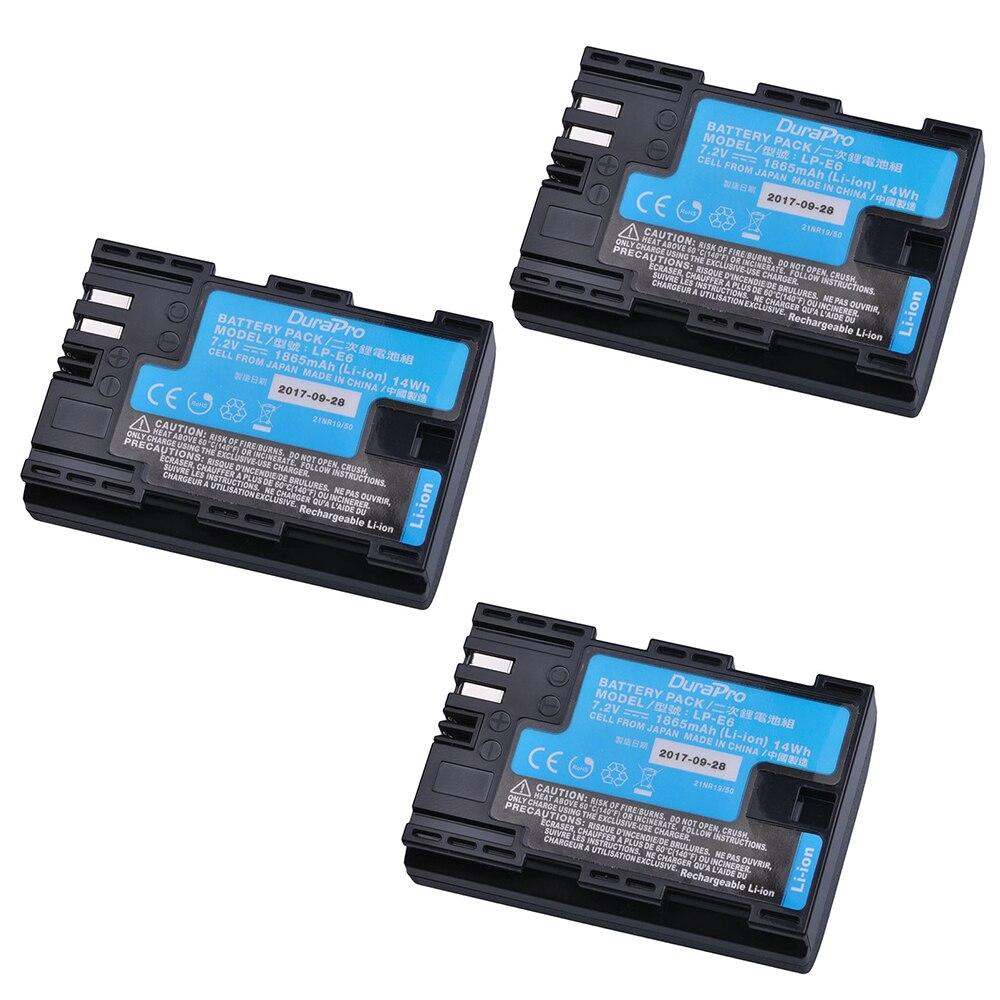 3pcs LP-E6 LP-E6N LP E6 Li-ion Made With Japan Cells For Canon LP-E6 EOS 5DS 5D Mark II Mark III 6D 7D 60D 60Da 70D 80D Battery