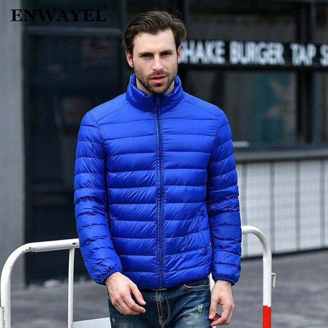 4757263077a ENWAYEL Autumn Winter Lightweight Thin 90% White Duck Down Jacket Men  Casual Ultralight Male Feather Jackets Coat Ultra Light