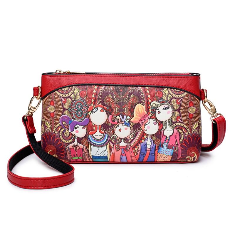 Fashion Women Messenger Bag Female Handbags Vintage Mini Print Flower Flap Bag Designer Shoulder Crossbody Bags For Girls