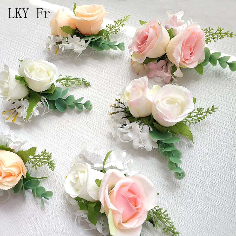 LKY Fr Wedding Wrist Corsage Bracelet Bride Wrist Corsage Wedding Bracelet Bridesmaid Flower Mariage Wedding Witness Accessories