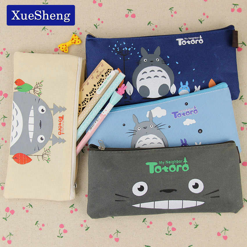 Cute Kawaii Fabric Pencil Case Lovely Cartoon Totoro Pen Bags for Kids Gift School Supplies