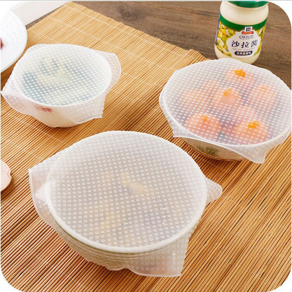 3 Pcs Set Reusable Silicone Plastic Wrap Seal Vacuum Food Magic Wrap Kitchen Gadget Plastic Wrap