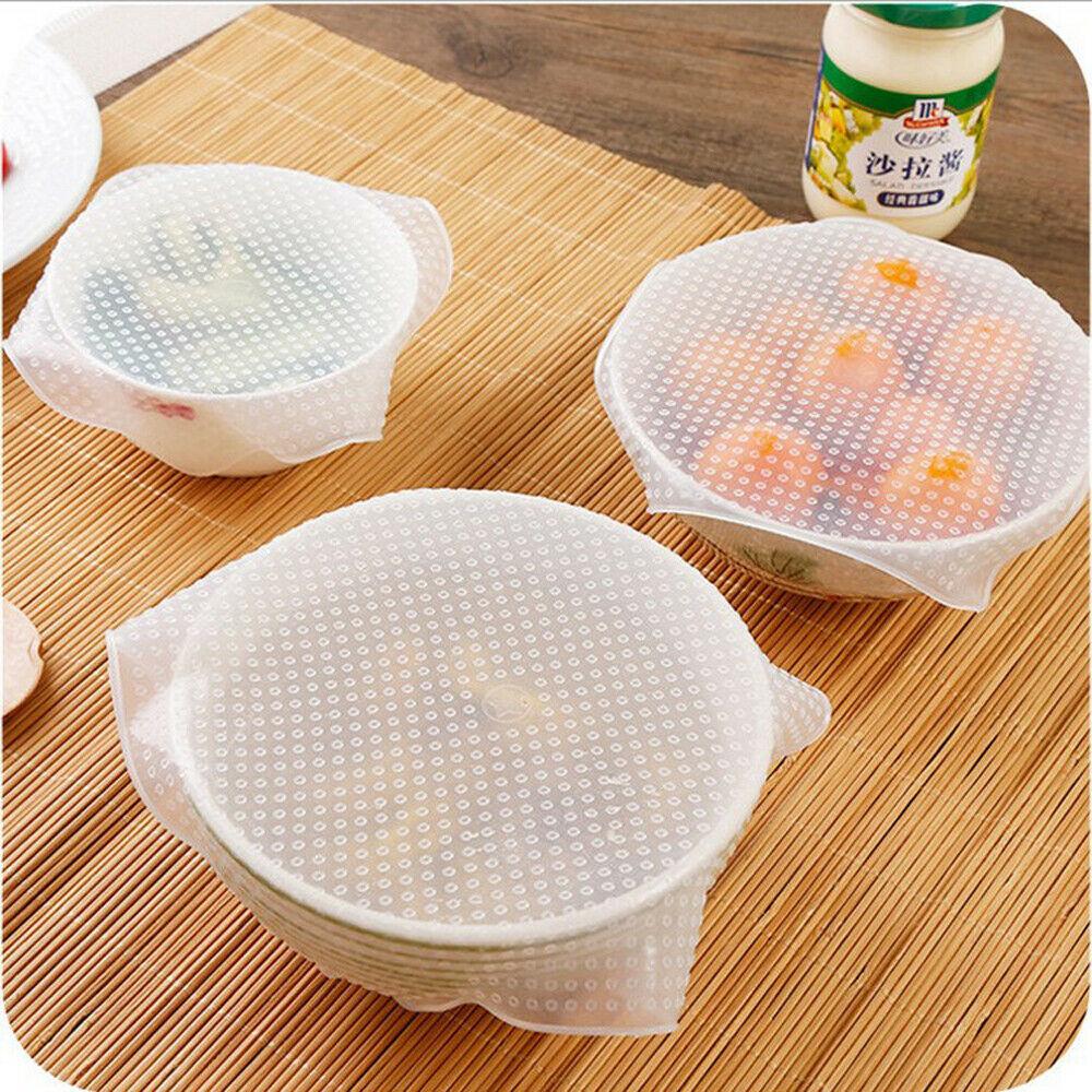 3 Pcs Set Reusable Silicone Plastic Wrap Seal Vacuum Food Magic Wrap Kitchen Gadget Plastic Wrap