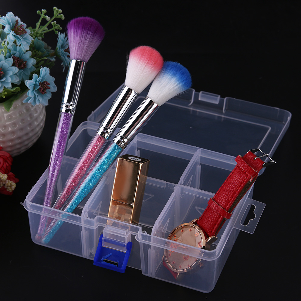 Clear Plastic Storage Box 6 Grids Cosmetic Organizer Case Jewelry Earring Parts Containers Home Office Desktop Accessories