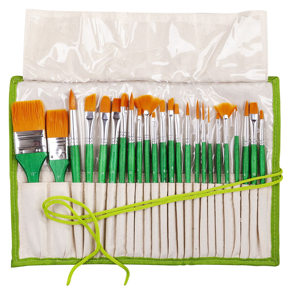 2252 24PC/set paint art brush set acrylic watercolor brushes artistic set with pencil case for acrylic and oil painting drawing 16 holes portable professional oil painting brush watercolor brush case knife paper pen case drawing set acrylic set bag only