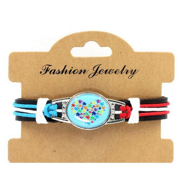New Fashion Heart Autism Awareness Leather Bracelet Adjule Cuff For Men And Women Jewelry