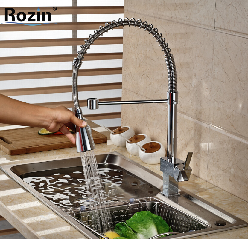 ФОТО Newly Chrome Kitchen Sink Faucet Single Lever Pull Down Spray Mixer Tap Deck Mount