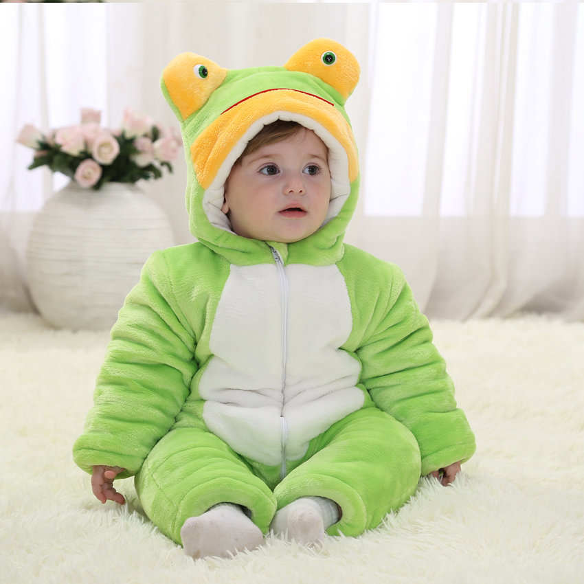 Christmas Baby Boy Romper Green Frog Winter Cotton Baby Girl Halloween Costume Toddlers Overalls 2018 Baby Clothes RL11-10